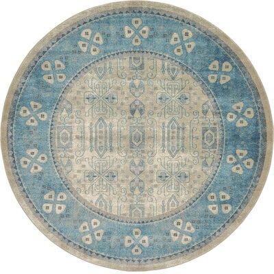 Brierfield Beige/Blue Area Rug Rug Size: Round 8