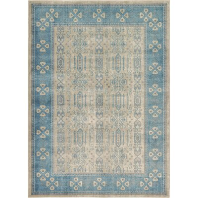 Jaiden Beige/Blue Area Rug Rug Size: Rectangle 7 x 10