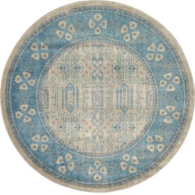 Brierfield Beige/Blue Area Rug Rug Size: Round 6