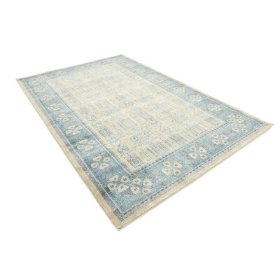 Jaiden Beige/Blue Area Rug Rug Size: Rectangle 5 x 8