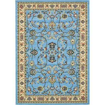 Essehoul Light Blue Oriental Area Rug Rug Size: Rectangle 7 x 10