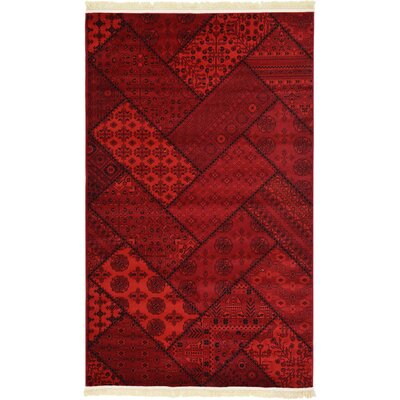 Ivette Traditional Red Area Rug Rug Size: Rectangle 4 x 6