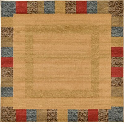 Jan Beige Color Bordered Area Rug Rug Size: Square 8'