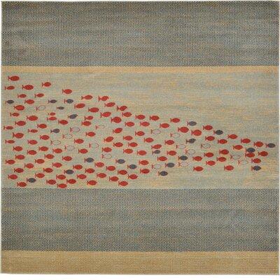 Jan Blue/Red/Beige Area Rug Rug Size: Square 8
