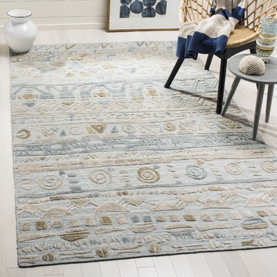 Alcanza Wool Light Blue/Beige Area Rug Rug Size: Rectangle 9 x 12