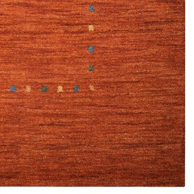 Richards Loom Hand Knotted Wool Orange Area Rug Rug Size: 8 x 11