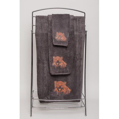 Karlyn Leopard Embellished Hand Towel Color: Charcoal