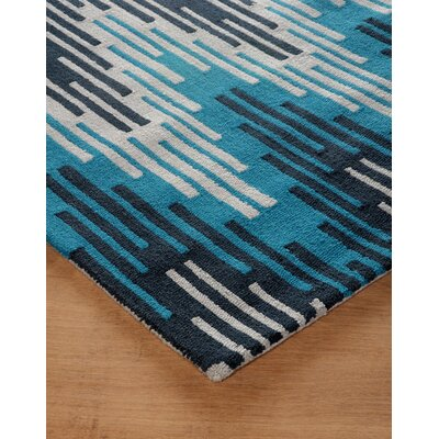 Flanary Hand-Tufted Frost Gray/Teal Area Rug Rug Size: Rectangle 4 x 6
