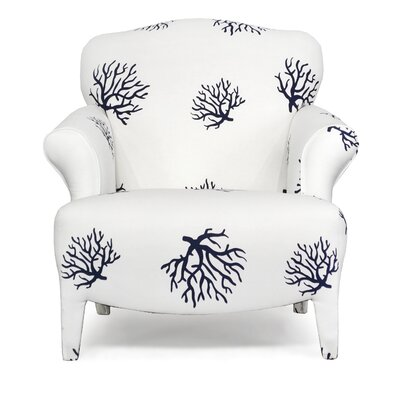 Gardea Armchair Upholstery: Coral White Blue