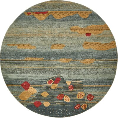 Jan Gray/Yellow Area Rug Rug Size: Round 8