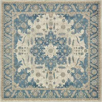 Jaiden Cream/Blue Area Rug Rug Size: Square 5