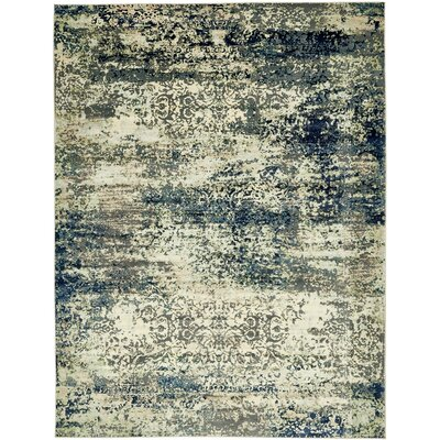 Jani Beige/Navy Blue Area Rug Rug Size: Rectangle 9 x 12