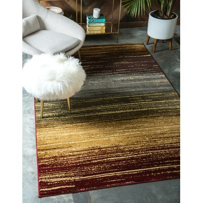 Jaidan Beige/Red Area Rug Rug Size: Rectangle 8 x 10
