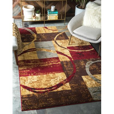 Jaidan Brown/Gray Area Rug Rug Size: Rectangle 5 x 8