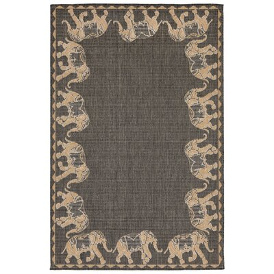 Rosalynn Marching Elephants Power Loom Gray Indoor/Outdoor Area Rug Rug Size: Rectangle 33 x 411