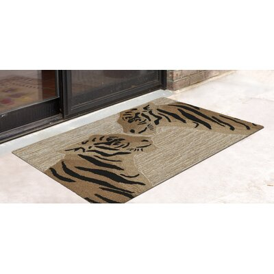 Rosaline Tigers Hand-Tufted Brown Indoor/Outdoor Area Rug Rug Size: Rectangle 18 x 26