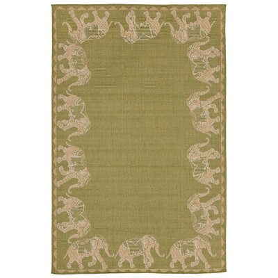 Rosalynn Marching Elephants Power Loom Green Indoor/Outdoor Area Rug Rug Size: Rectangle 111 x 211