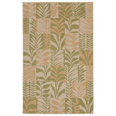 Rosalynn Box Leaves Power Loom Green Indoor/Outdoor Area Rug Rug Size: Runner 111 x 76
