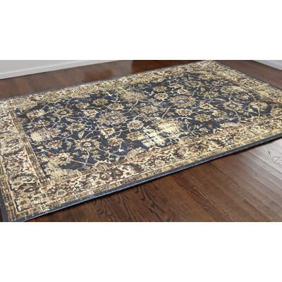 Rosana Brown/Blue Floral Area Rug Rug Size: 710 x 910
