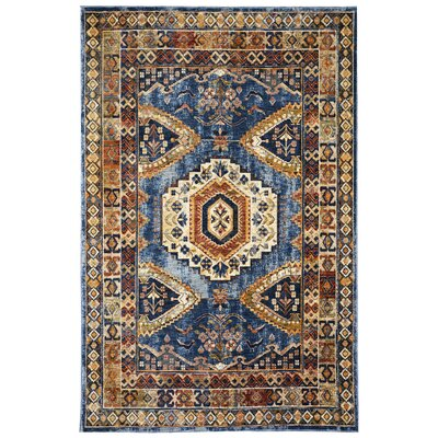 Rosana Blue/Brown Area Rug Rug Size: 710 x 910