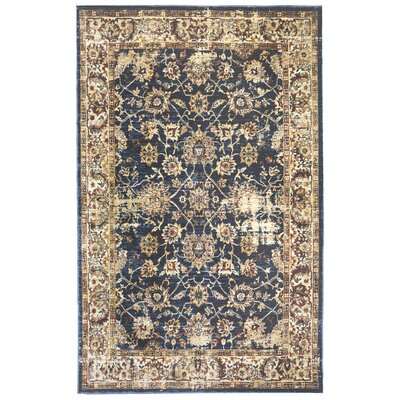 Rosana Brown/Blue Floral Area Rug Rug Size: 33 x 411