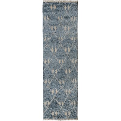 One-of-a-Kind Kimberlee Moroccan Hand-Knotted Wool Gray/Blue Area Rug