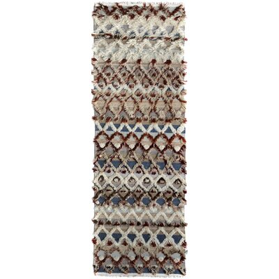 Kimberlee Moroccan Hand-Knotted Wool Beige/Blue Area Rug