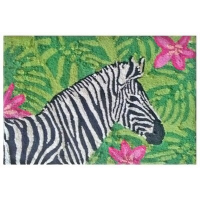 Rosaline Zebra Garden Hand-Tufted Green Indoor/Outdoor Area Rug Rug Size: Rectangle 26 x 4