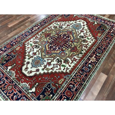 Roselle Hand Woven Wool Navy/Beige Area Rug Rug SIze: Rectangle 411 x 8