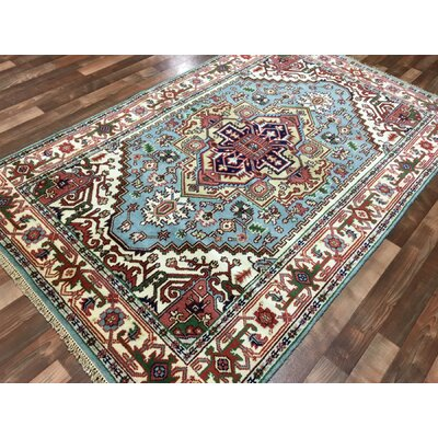 Roselle Hand Woven Wool Blue/Beige Area Rug Rug SIze: Rectangle 52 x 8