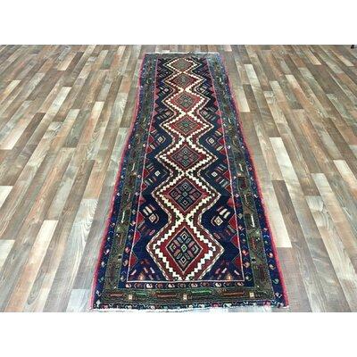 One-of-a-Kind Salvatore Hamadan Oriental Hand Woven Blue Area Rug