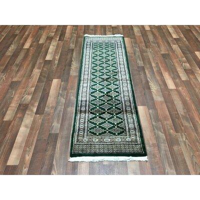 One-of-a-Kind San Gabriel Royal Bukhara Hand-Woven Silk, Wool Green Area Rug