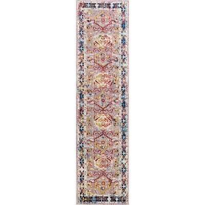 Vanves Pink/Blue/Red Area Rug Rug Size: Runner 2 x 8