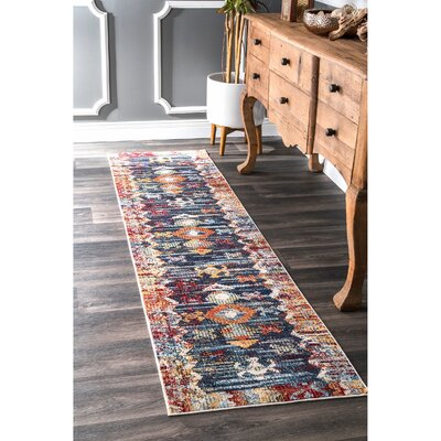 Veendam Blue/Red Area Rug Rug Size: Runner 2 x 8