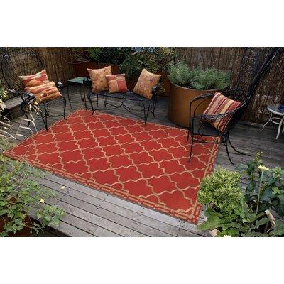 Abboud Floor Tile Hand Tufted Red/Gold Indoor/Outdoor Area Rug Rug Size: Rectangle 76 x 96