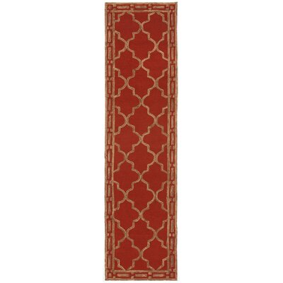 Fellman Floor Tile Hand Tufted Red/Gold Indoor/Outdoor Area Rug Rug Size: Runner 2 x 8