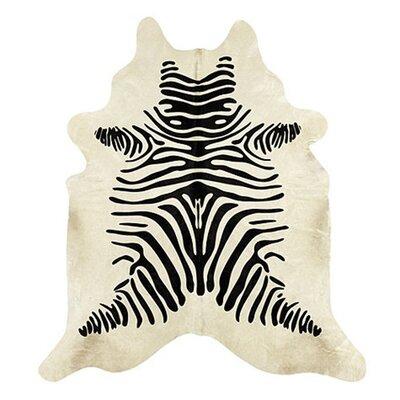 Aurik Zebra Hand Woven Cowhide Black/Beige Area Rug