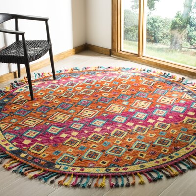 Sharo Hand-Tufted Wool Orange Area Rug Rug Size: Round 7