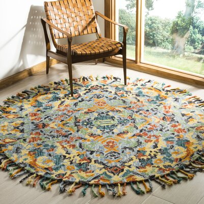 Elford Hand-Tufted Wool Blue Area Rug Rug Size: Round 6