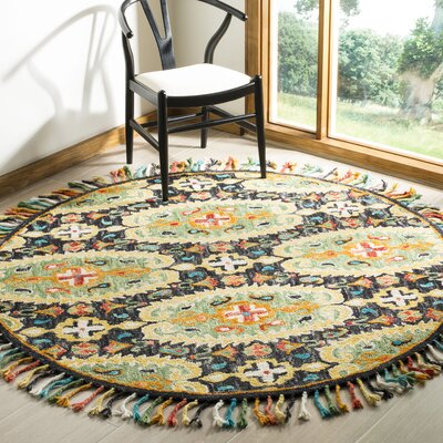 Elford Hand-Tufted Wool Charcoal Area Rug Rug Size: Round 6