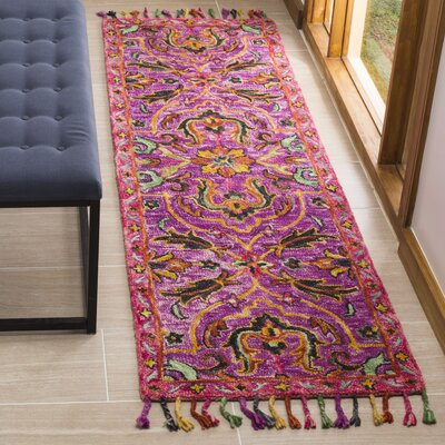 Elford Hand-Tufted Wool Purple Area Rug Rug Size: Rectangle 23 x 8