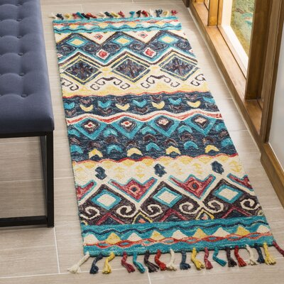 Garvin Hand-Tufted Wool Blue Area Rug Rug Size: Rectangle 23 x 7