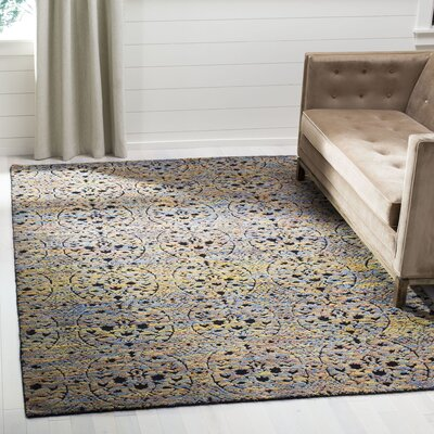 Merriam Hand Tufted Wool Blue/Yellow Area Rug Rug Size: Rectangle 9 x 12