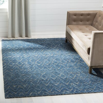 Merriam Contemporary Hand Tufted Wool Blue Area Rug Rug Size: Rectangle 9 x 12