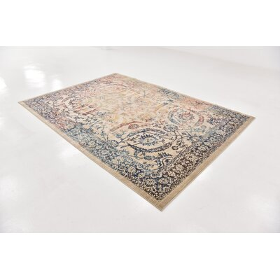 Jae Beige Oriental Area Rug Rug Size: Rectangle 7 x 10