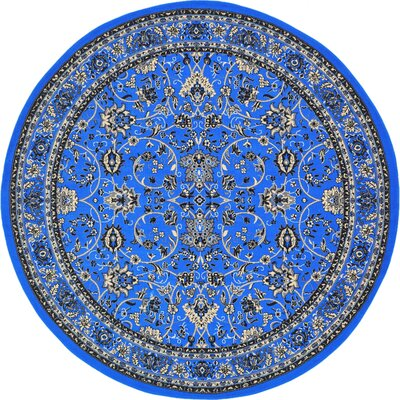 Essehoul Dark Blue Area Rug Rug Size: Round 8