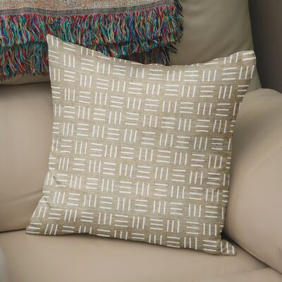Bemelle Mud Cloth Square Throw Pillow Size: 18 H x 18 W, Color: Taupe/ Ivory
