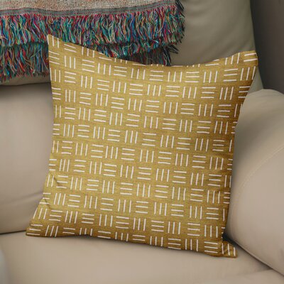 Bemelle Mud Cloth Square Throw Pillow Size: 16 H x 16 W, Color: Gold/ Ivory