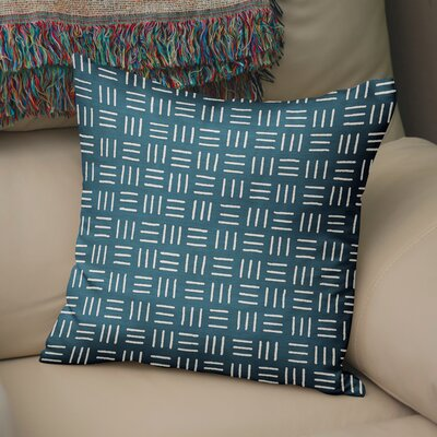 Bemelle Mud Cloth Square Throw Pillow Size: 16 H x 16 W, Color: Blue/ Ivory