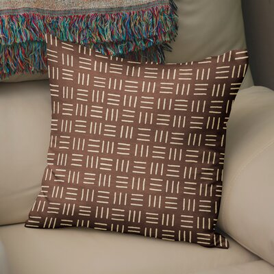 Bemelle Mud Cloth Square Throw Pillow Size: 24 H x 24 W, Color: Brown/ Ivory